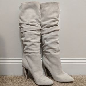 NWOT Steve Madden White Suede Heeled Boots